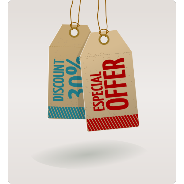 Vector graphics of discount 30% and special offer price tags