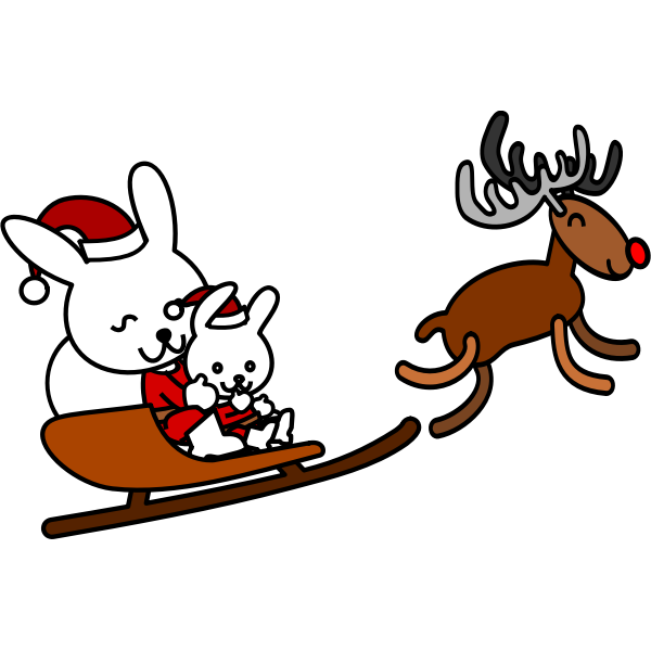 Santa rabbit vector grpahics