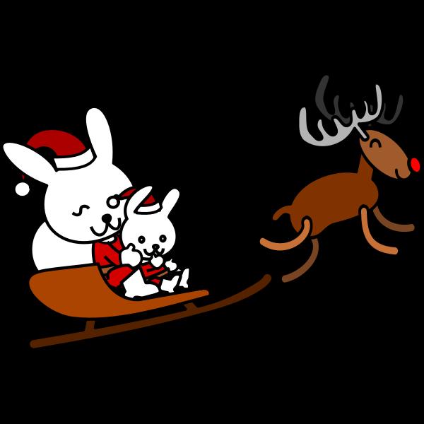 Santa rabbit vector grpahics