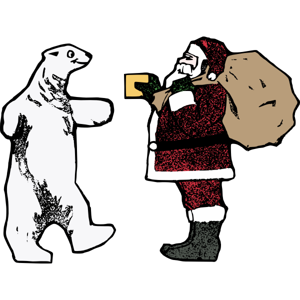 Santa and the polar bear vector graphics