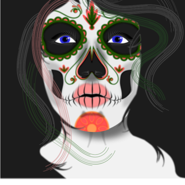 Vector drawing of woman with face painted mask