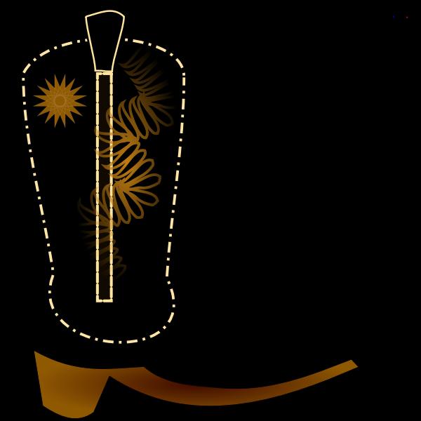 Vector clip art of black cowboy boot