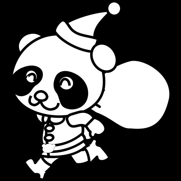 Santa Panda coloring book vector image
