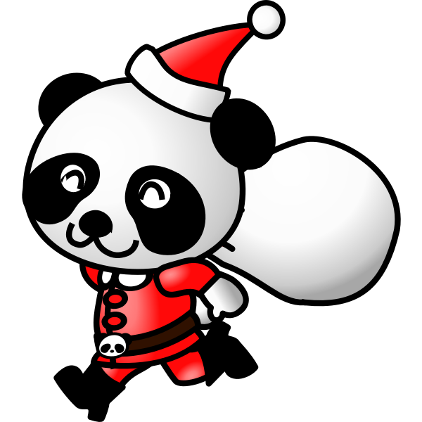 Panda in Santa Claus suit vector