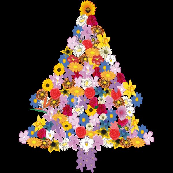 Vector illustration of flower Christmas tree