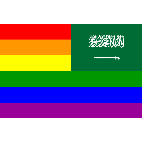 Saudi Arabia and rainbow flag