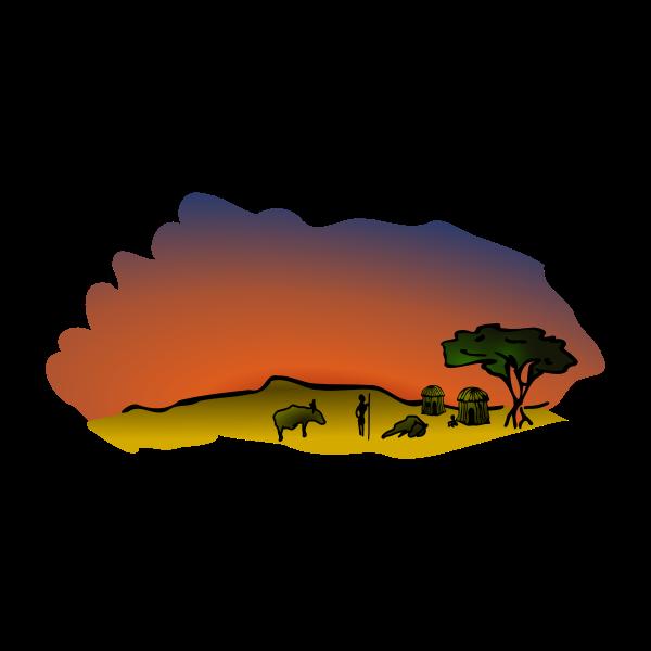 Vector clip art of African savanna scenery