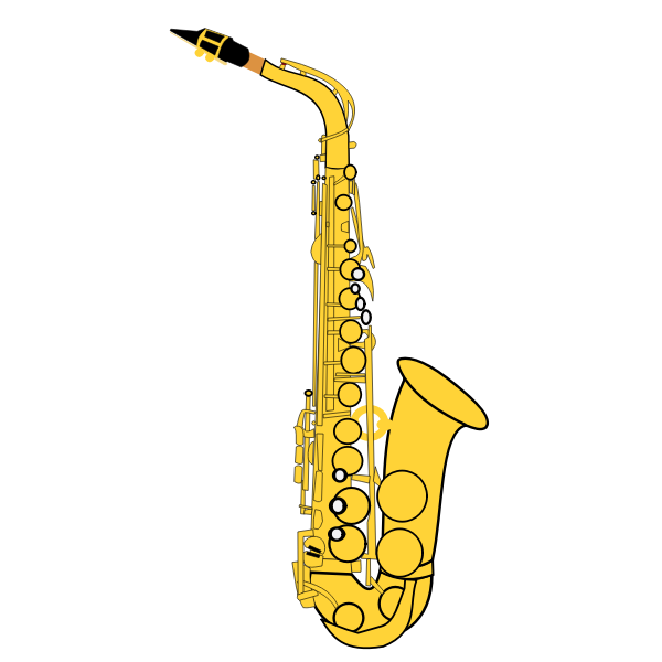 Gold saxophone vector illustration