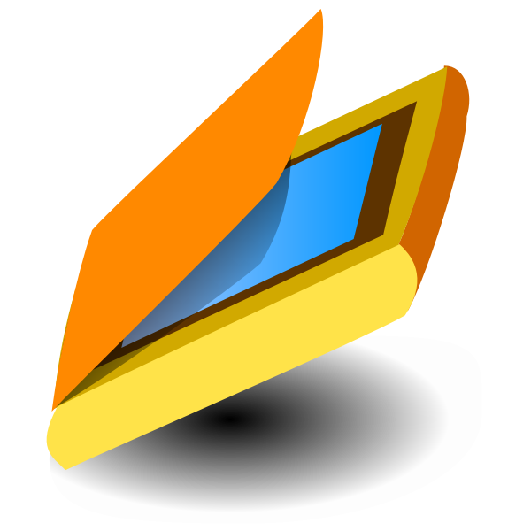 Vector drawing of tilted yellow scanner