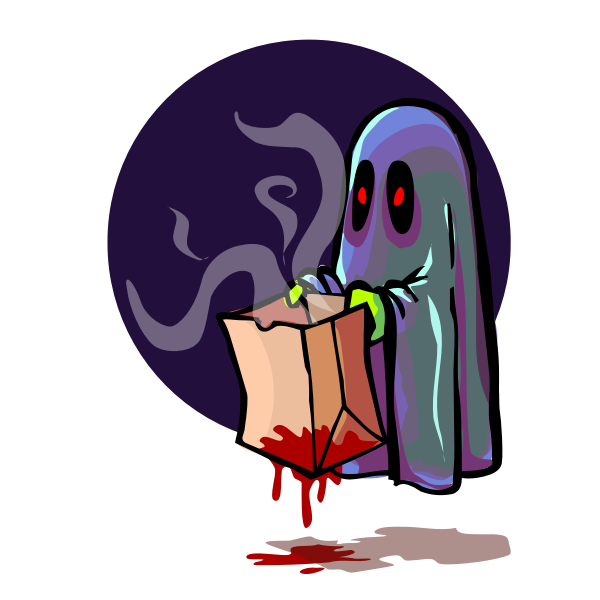 Scary ghost holding bag vector image