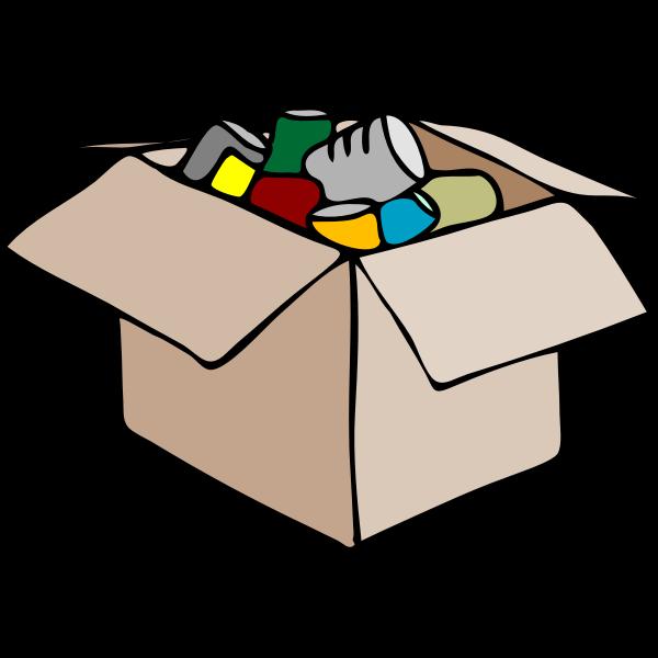 Vector clip art of cardboard box full of waste