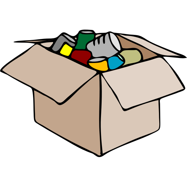 Vector clip art of cardboard box full of waste