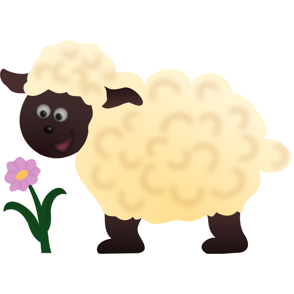 Happy sheep and flower vector image
