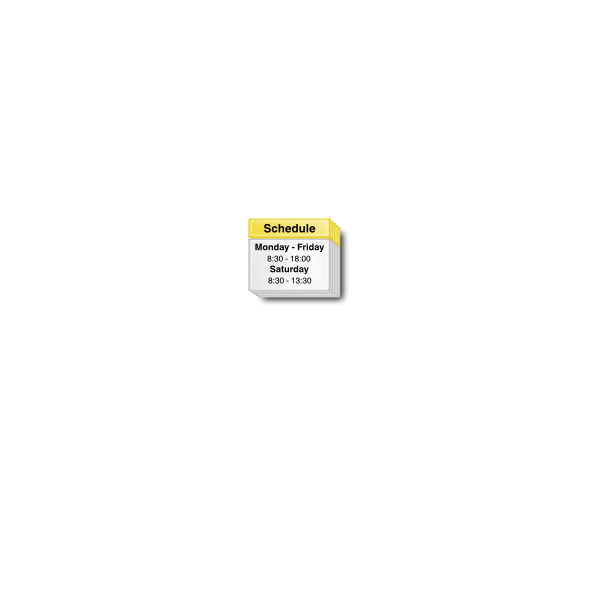 Vector drawing of white and yellow schedule software link