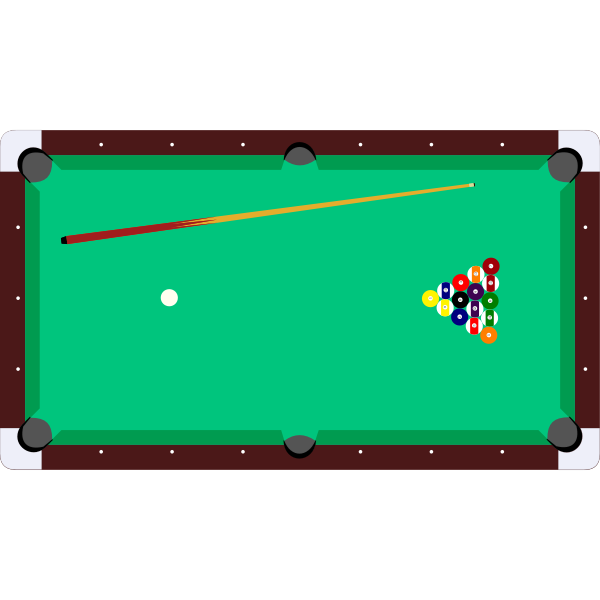 Vector clip art of pool table with cue and balls top view