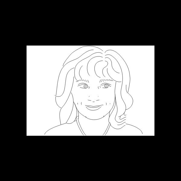 Woman's portrait line art vector drawing