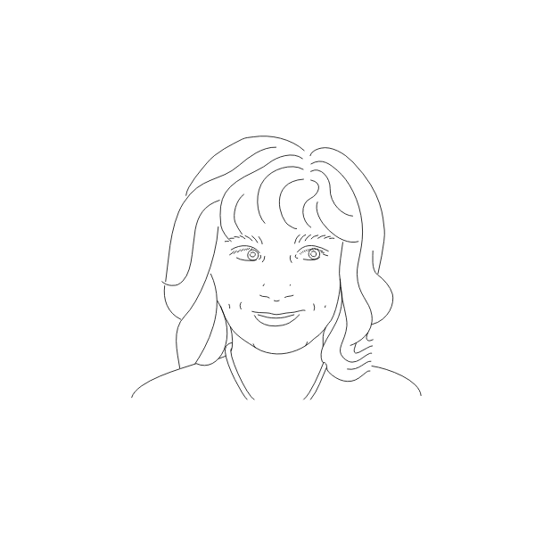 Woman's portrait line art vector drawing