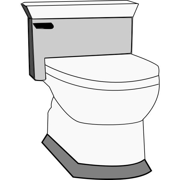Vector drawing of toilet with flusher