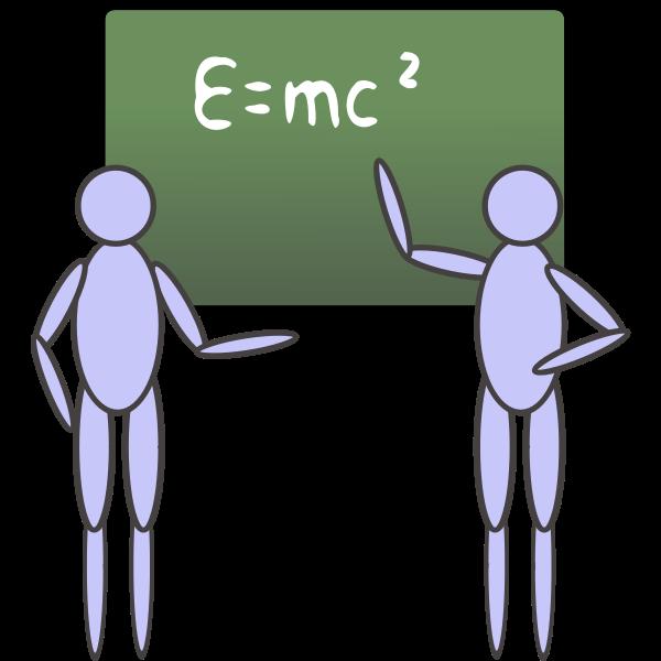 people near a blackboard