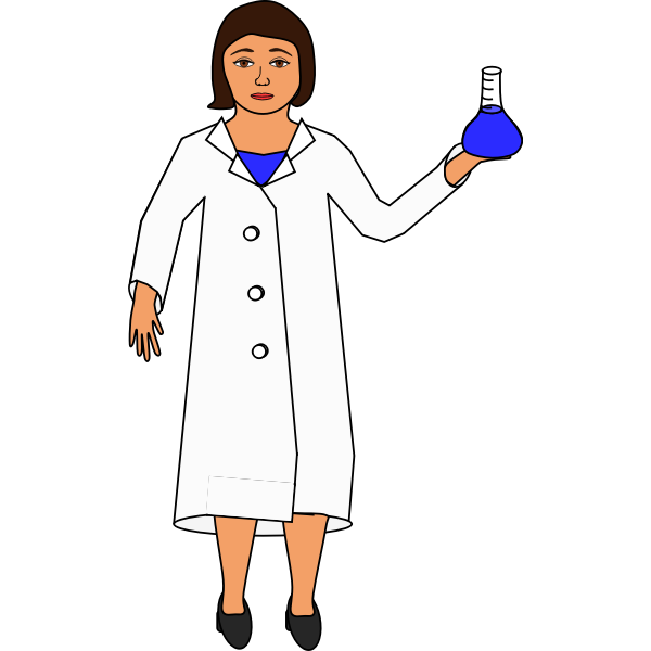 Scientist holding an Erlenmeyer flask