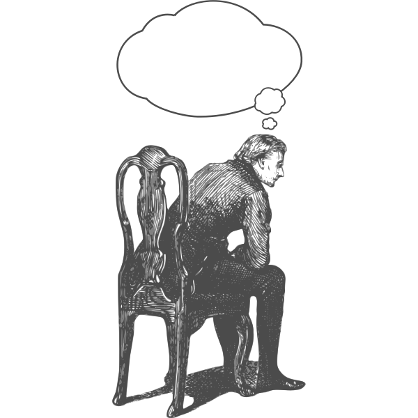 Vector drawing of man sitting on chair and thinking