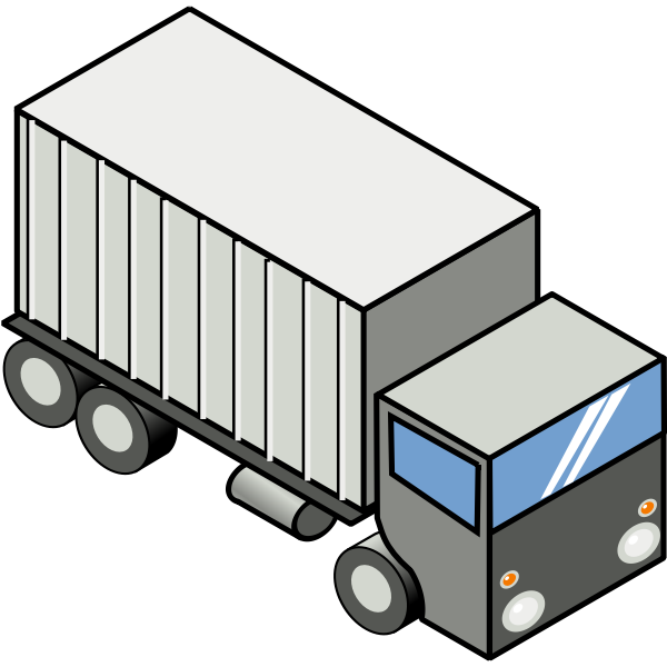 Vector image of container carrying truck