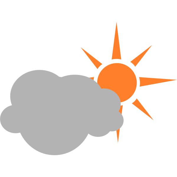 Color symbol for partly cloudy sky vector graphics