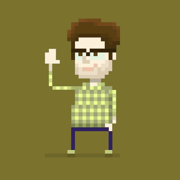 Pixel art man vector drawing