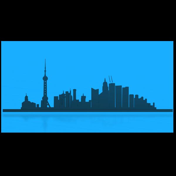 Shanghai city skyline outline vector image