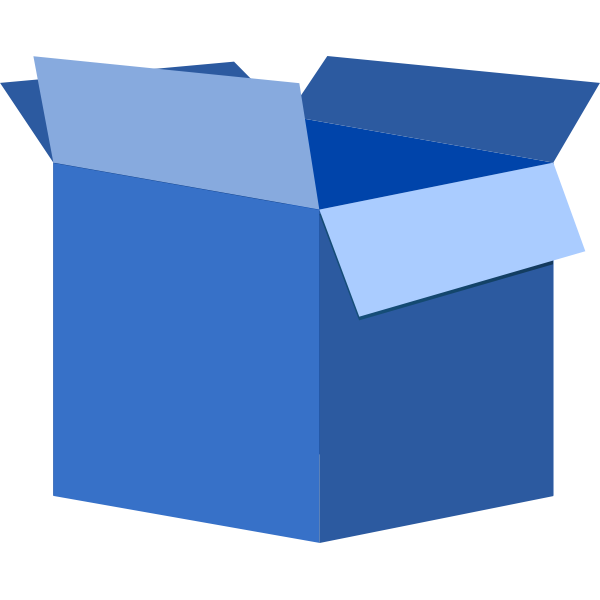 Vector illustration of blue cardboard box open
