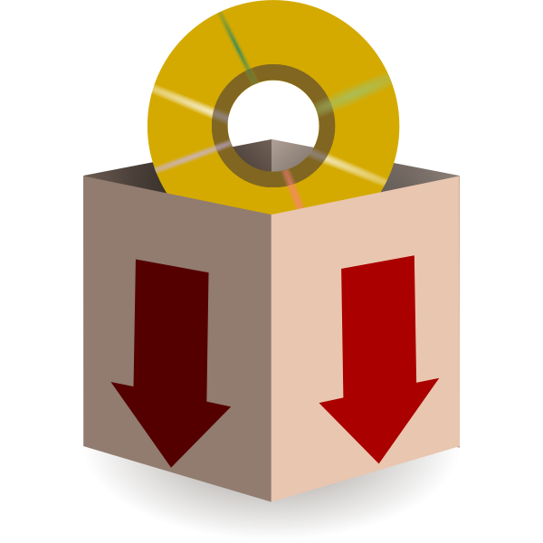 Vector illustration of download from disc icon