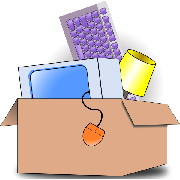 Vector illustration of box filed with household item