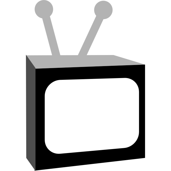 Vector image of black and white vintage TV set