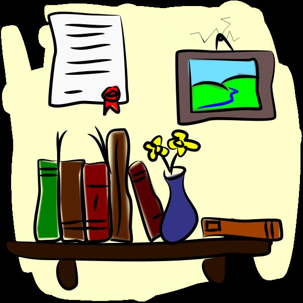 Wall with bookshelf