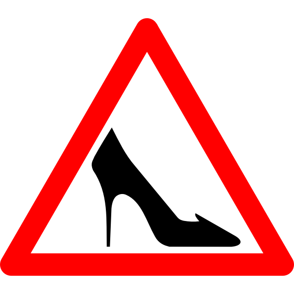 Vector drawing of ladies shoes warning traffic sign