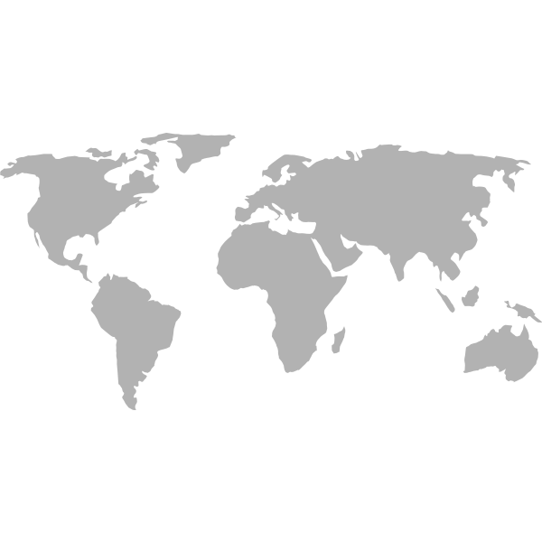 Silhouette vector graphics of political world map