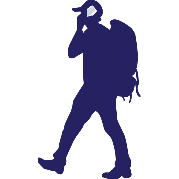 Backpacker on a phone vector image