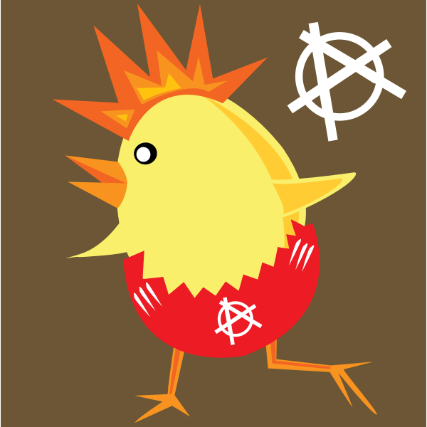 Punk chicken vector clip art
