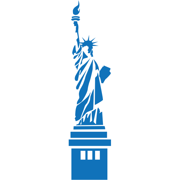 Statue of Liberty blue silhouette vector image
