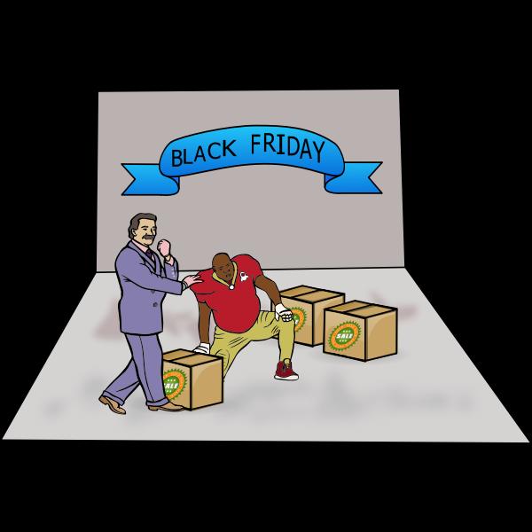 Black Friday shoppers vector illustration