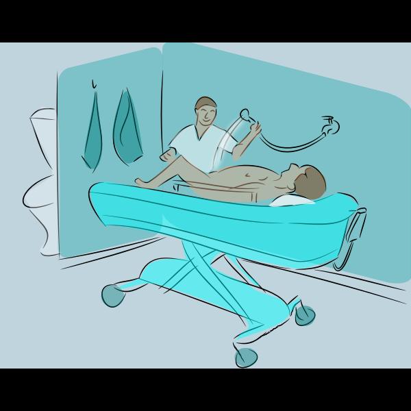 Showering patient vector illustration