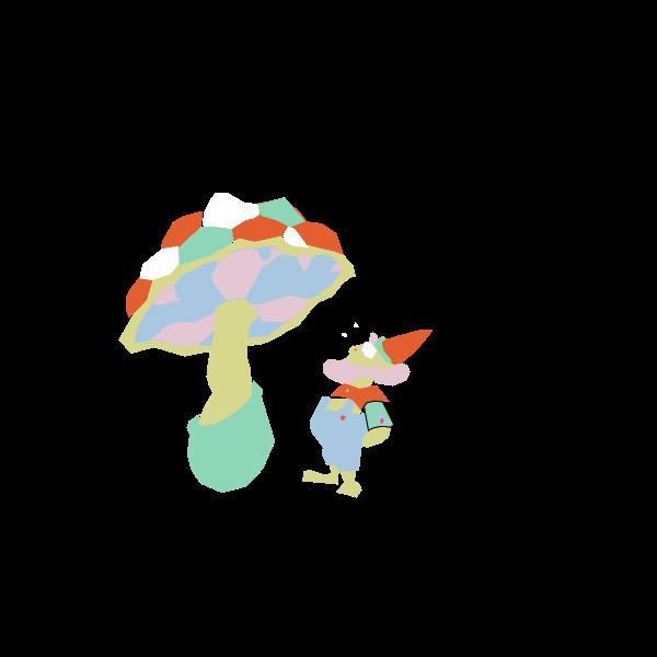 Dwarf under mushroom