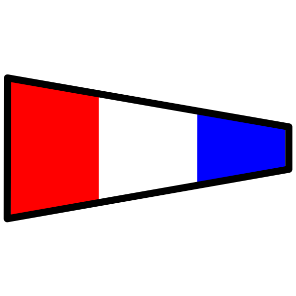 Three-colored signal flag
