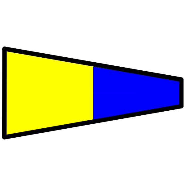 Yellow and blue signal flag