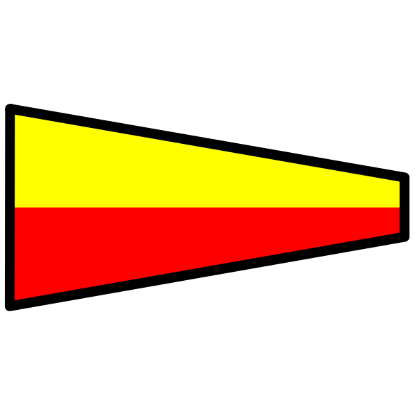 Signal flag in yellow and red