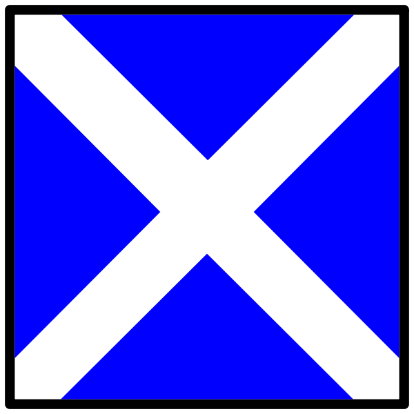 Blue and white nautical symbol