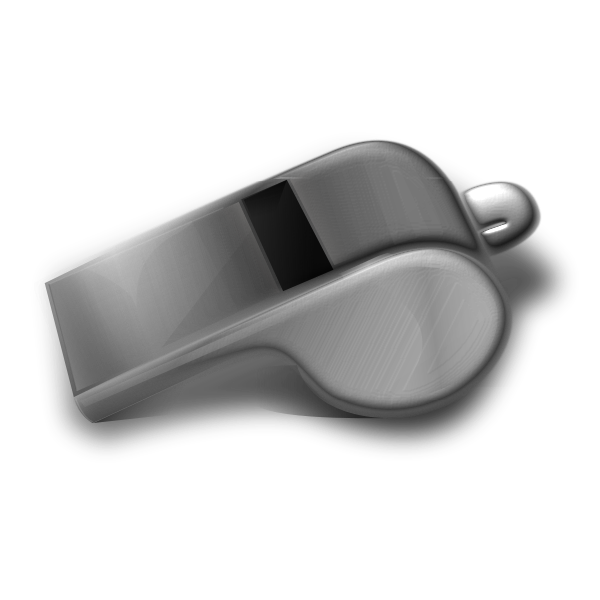 Metal whistle 3D vector drawing