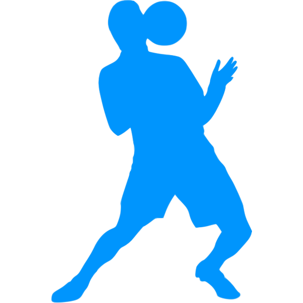 Soccer player blue silhouette