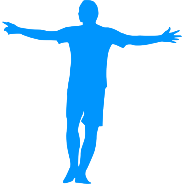 Football player blue silhouette image