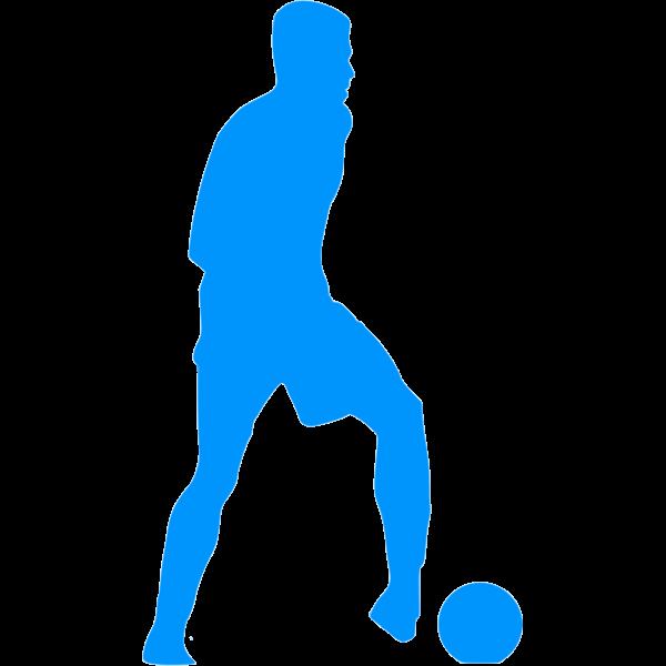 Football player blue silhouette clip art